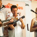 The Ukuleles performing with broadcast journalist and uke enthusiast, Nicky Campbell at Musicroom London on Denmark Street.