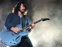 Grohl in action on guitar with Foo Fighters.