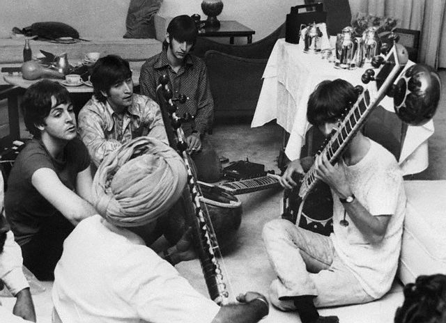 Musician George Harrison Receiving Sitar Lesson