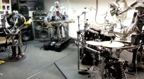 All-robot cover band play Ace Of Spades