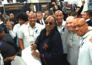 Dion and the Dube team meet Stevie Wonder at NAMM 2012.