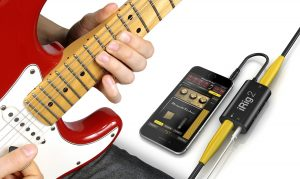 iRig2 Mobile Guitar Interface attached to a guitar.