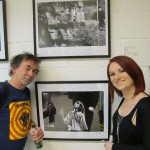 Paul Slattery and jacqui Black with one of his pieces.