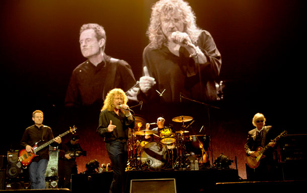 Led Zeppelin in action at the O2 Arena in 2007.
