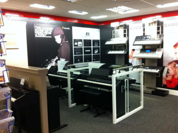 The new Casio section at Musicroom Edinburgh Rae Macintosh.