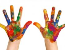 kids paint hands
