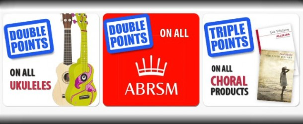 Double or triple reward points on ukuleles, choral music and ABRSM products with the Musicroom loyalty card